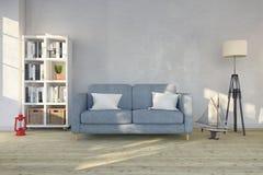 3d render - interior of scandinavian living room Royalty Free Stock Images