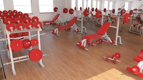Interior view of a Gym. 3D Render of a Interior view of a Gym Stock Photo