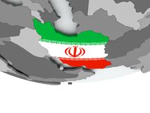 Iran with flag on globe Royalty Free Stock Image