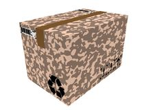3d render of isolated military delivery box on white background. Illustration of isolated military delivery box on white background Stock Photography