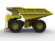 Mining truck isolated illustration. 3D render of an isolated mining truck. The composition is isolated on a white background with shadows Stock Images