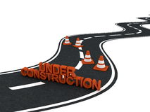 Under construction road with traffic cones Stock Photo