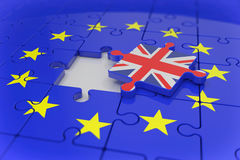 3d render - jigsaw - puzzle - brexit. 3d render - Euro puzzle and one puzzle piece with great britain flag - brexit Royalty Free Stock Photos