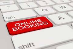 3d render - keyboard - online booking - red Stock Photo