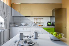 3d render of kitchen design in a modern style, a mix of pictures without textures and materials and shaders. 3d illustration of kitchen design in a modern style Stock Photography