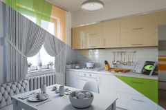 3d render of kitchen design in a modern style, a mix of pictures without textures and materials and shaders Stock Image