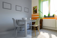 3d render of kitchen design in a modern style, a mix of pictures without textures and materials and shaders Royalty Free Stock Image