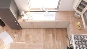 Kitchen Interior. 3D render of a Kitchen Interior Stock Photos