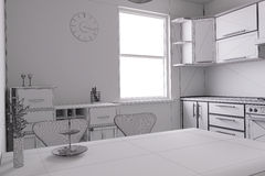 3D render of a kitchen Stock Photo