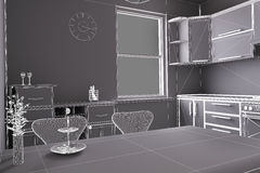 3D render of a kitchen Royalty Free Stock Photos
