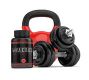 3D render of l-carnitine bottle with dumbbells and kettlebell Royalty Free Stock Photo