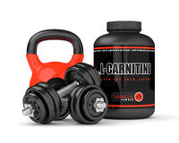 3D render of l-carnitine with dumbbells and kettlebel Stock Image