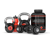 3D render of l-carnitine with dumbbells and kettlebells Stock Photography