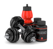 3D render of l-carnitine with dumbbells and water bottle Royalty Free Stock Photography