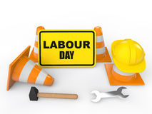 3D render of Labour day sign board. With different work tools Royalty Free Stock Photo
