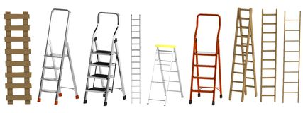 3d render of ladders. Realistic 3d render of ladders Royalty Free Stock Photography