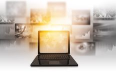 Laptop with business graph information diagrams. 3d render of Laptop with business graph information diagrams. business marketing Stock Images