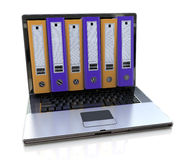 3d render of laptop with colored folders inside screen. Storage Royalty Free Stock Photo
