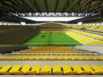 3D render of a large capacity soccer - football Stadium with an open roof and yellow seats Royalty Free Stock Photography