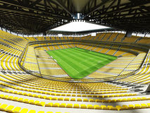 3D render of a large capacity soccer - football Stadium with an open roof and yellow seats Stock Image