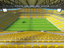 3D render of a large capacity soccer football Stadium with yellow chairs Royalty Free Stock Photo