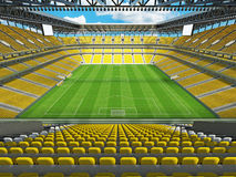 3D render of a large capacity soccer football Stadium with yellow chairs Stock Images