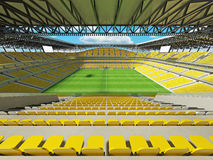 3D render of a large capacity soccer football Stadium with yellow chairs Stock Photography