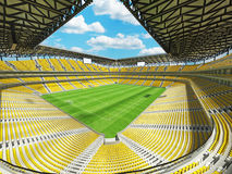 3D render of a large capacity soccer football Stadium with yellow chairs Stock Image
