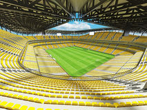 3D render of a large capacity soccer football Stadium with yellow chairs Royalty Free Stock Photography
