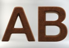3D Render of Leather Letters stock image