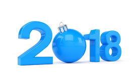 3d render - 2018 in letters with a blue christmas ball as Zero o. Ver white background - new year 2018 concept Royalty Free Stock Photo