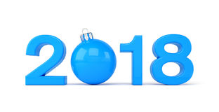 3d render - 2018 in letters with a blue christmas ball as Zero o. Ver white background - new year 2018 concept Stock Photo