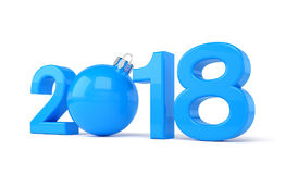 3d render - 2018 in letters with a blue christmas ball as Zero o. Ver white background - new year 2018 concept Stock Photos