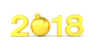 3d render - 2018 in letters with a golden christmas ball as Zero. Over white background - new year 2018 concept Stock Images