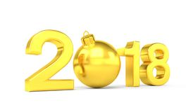 3d render - 2018 in letters with a golden christmas ball as Zero. Over white background - new year 2018 concept Stock Photo
