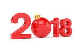 3d render - 2018 in letters with a red christmas ball as Zero ov. Er white background - new year 2018 concept Stock Image