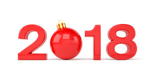 3d render - 2018 in letters with a red christmas ball as Zero ov. Er white background - new year 2018 concept Stock Images