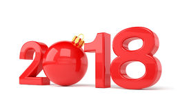 3d render - 2018 in letters with a red christmas ball as Zero ov. Er white background - new year 2018 concept Stock Photography