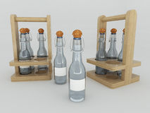 3D render of liquid in glass bottles. On white background Stock Photo