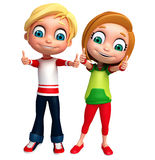 3D Render of Little Boy and Girl with  thums up pose Royalty Free Stock Photos