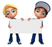 3D Render of Little Boy with white board. 3D Render of Little Boy  with white board Royalty Free Stock Photography