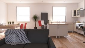 Living Room Interior. 3D render of a Living Room Interior Royalty Free Stock Image