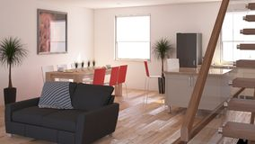 Living Room Interior. 3D render of a Living Room Interior Royalty Free Stock Photos
