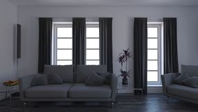 Living Room Interior. 3D render of a Living Room Interior Stock Photography