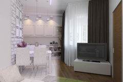 3d render of Living room with kitchen interior design in a moder Stock Photo