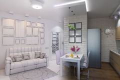 3d render of Living room with kitchen interior design in a moder Royalty Free Stock Image