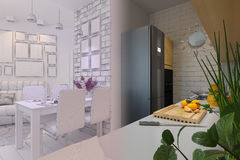 3d render of Living room with kitchen interior design in a moder Royalty Free Stock Photography