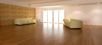 3D REnder of a Living Room. 3d render of a spacious living room for composite backgrounds.  Wooden floors with a sofa and bright window Royalty Free Stock Image