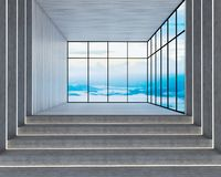 3d render of loft style. And stair to viewpoint royalty free illustration