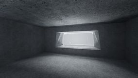 3d Render low key empty space concrete room. With bright window vector illustration